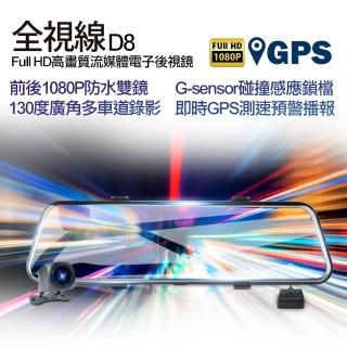 【全視線】W8 GPS測速預警前後1080P高畫質流媒體電子後視鏡