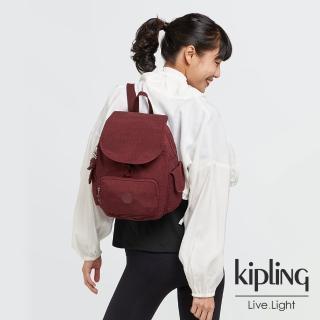 【KIPLING】迷人微醺紅拉鍊掀蓋後背包-CITY PACK S