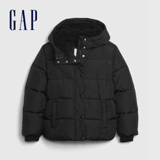 【GAP】女童 簡約風格絎縫式連帽外套(593428-黑色)