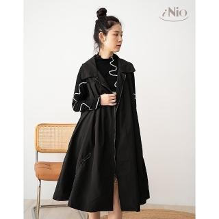 【iNio 衣著美學】時尚簡約抽繩設計長版背心外套(S-L適穿)-現貨快出C0W4112
