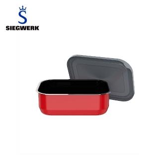 【SIEGWERK】德國不鏽鋼琺瑯保鮮鍋-方形1入-600ML火焰紅