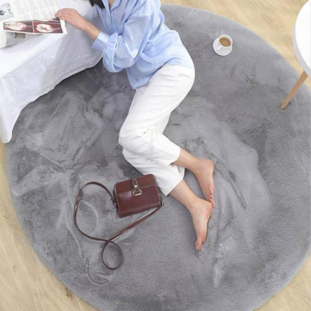 北歐風仿兔毛加厚地墊地毯圓形90cm銀灰色/