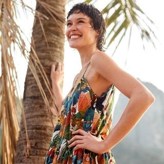 【LEVIS】X FARM Rio限量聯名 女款 細肩帶洋裝 / 滿版巴西熱帶風印花-人氣新品