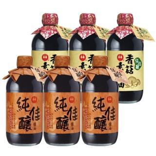【萬家香】純佳釀醬油素蠔油合購組(純佳釀醬油*3瓶+純佳釀素蠔油*3瓶)