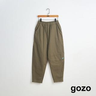【gozo】簡約錐形鬆緊男友褲(三色)