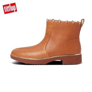 【FitFlop】JACINTA ART STUD ANKLE BOOTS 柔軟皮革拉鍊裸靴-女(淺褐色)