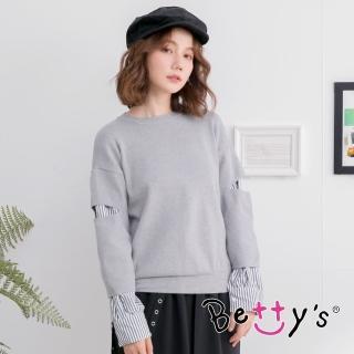 【betty's 貝蒂思】拼接條紋袖針織線衫(灰色)