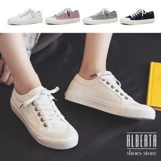 【Alberta】2.3CM休閒鞋 復古百搭經典貝殼鞋頭 綁帶低筒帆布鞋 小白鞋