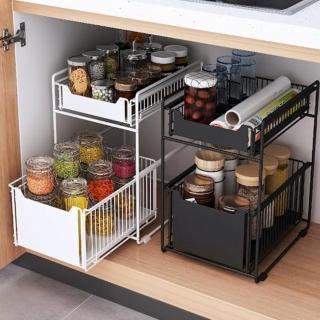 【MGSHOP】廚房浴室雙層抽屜收納置物架(好抽拉多功能置物架)