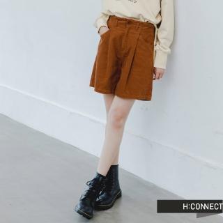 【H:CONNECT】韓國品牌 女裝 -質感燈芯絨高腰短褲(卡其色)