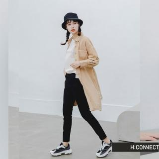 【H:CONNECT】韓國品牌 女裝 -燈芯絨排釦腰帶襯衫洋裝(卡其色)