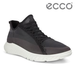 【ecco】ST.1 LITE M 流線透氣運動休閒鞋 男鞋(黑色 50423451052)