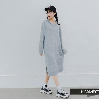 【H:CONNECT】韓國品牌 女裝 -長版連帽針織毛衣洋裝(卡其色/灰色)