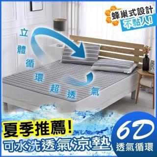 【HongYew 鴻宇】涼墊 水洗6D透氣循環墊 可水洗 矽膠防滑(雙人+枕墊2入)
