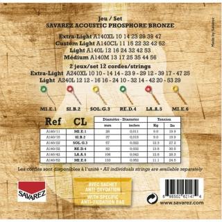 【Savarez】A140CL 磷青銅民謠木吉他弦 11-52(台灣公司貨 商品品質有保障)