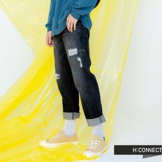 【H:CONNECT】韓國品牌 男裝 -率性水洗刷破牛仔褲(黑色)