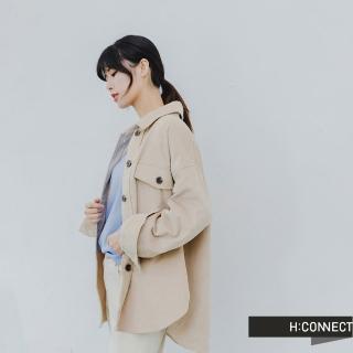 【H:CONNECT】韓國品牌 女裝 -質感燈芯絨排扣襯衫(米色)