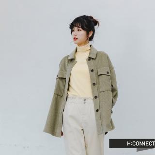 【H:CONNECT】韓國品牌 女裝 -質感燈芯絨排扣襯衫(橄欖色)