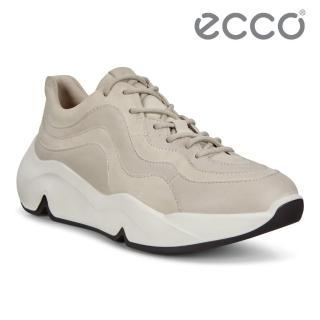 【ecco】CHUNKY SNEAKER W 潮趣簡約輕量單色休閒運動鞋 女鞋(砂礫色 20310358261)