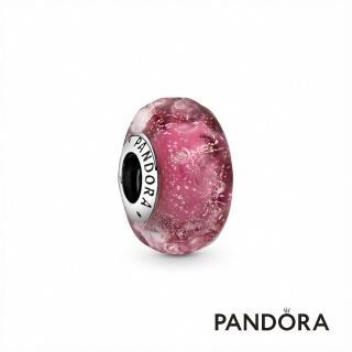 【Pandora官方直營】艷粉紅波紋琉璃串飾/