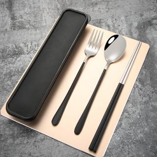 【環保餐具組】不鏽鋼餐具三件組(露營 野餐 環保餐具  便攜)