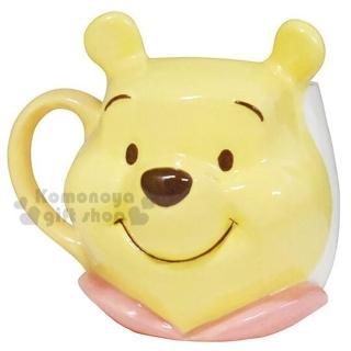 【小禮堂】迪士尼 小熊維尼 造型陶瓷馬克杯《黃.大臉》320ml.精緻盒裝.咖啡杯