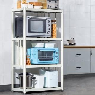【HappyLife】白色烤漆不鏽鋼置物架 四層置物架80cm Y10026(家電收納架 電器收納架 微波爐烤箱架 廚房)