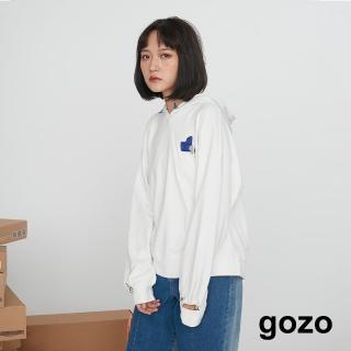 【gozo】撞色袖口挖洞抽繩帽T(兩色)