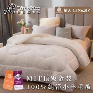 【Aaron 艾倫生活家】MIT-頂級金裝3kg100%純淨小羊毛被-諾貝達卡文(單人)