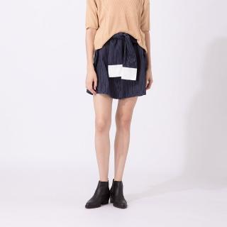 【CUMAR】假襯衫綁帶造型舒適-短裙(二色/版型合身)/