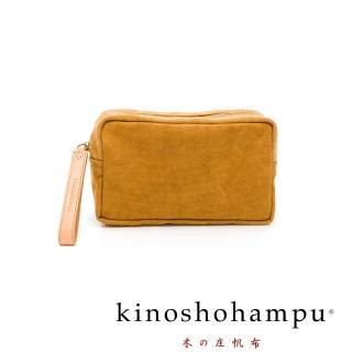 【kinoshohampu】WEEKEND水洗帆布皮飾化妝包(駝)