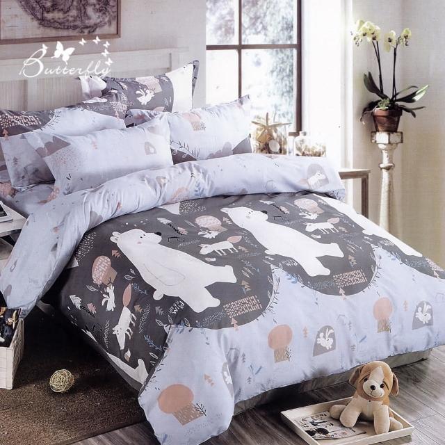 【BUTTERFLY】柔絲絨卡通四件式全鋪棉兩用被床包組-多款任選(雙人)/