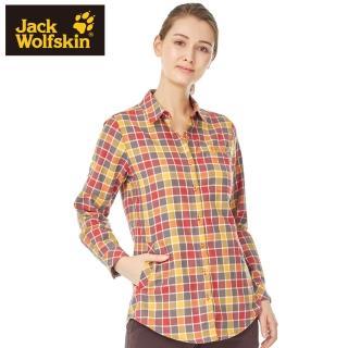 【Jack wolfskin 飛狼】女 長袖格紋襯衫 修身長版(橘格紋)