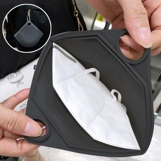 【EZlife】創意可掛式矽膠口罩收納袋(贈護耳套1對)