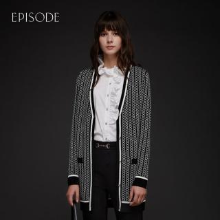 【EPISODE】黑白交織精緻鑲邊百搭長款針織開衫外套/