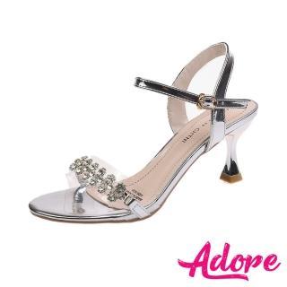 【ADORE】金屬亮皮透明一字美鑽帶造型高跟涼鞋(銀)/