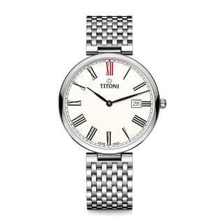 【TITONI 梅花錶】纖薄系列機械錶 白面鋼帶 39mm(82718 S-608)