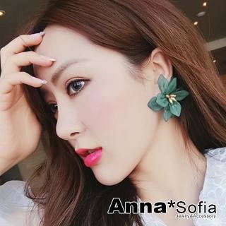 【AnnaSofia】大型925銀針耳針耳環-磨砂霧透綺花(森林綠花系)