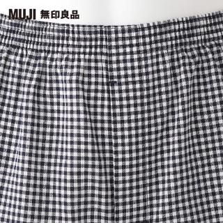 【MUJI 無印良品】男印度棉水洗牛津布前開平口褲(深藍格紋)