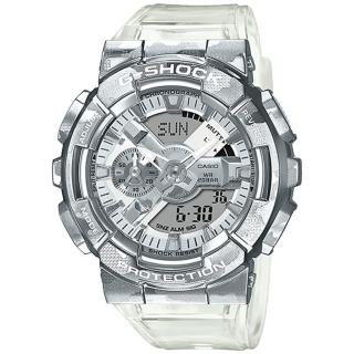 【CASIO 卡西歐】G-SHOCK 冰酷迷彩金屬雙顯手錶(GM-110SCM-1A)