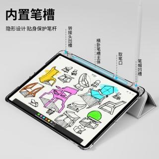 【ANTIAN】iPad 8 10.2吋 2020版 智慧休眠喚醒平板皮套 內置筆槽 透明後殼保護套(防摔支架保護殼)