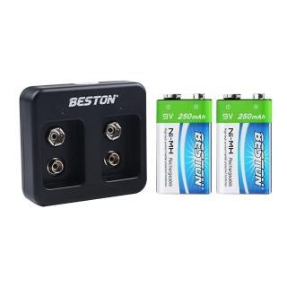 【BESTON】9V鎳氫電池二入+雙槽充電器組(C-8006/充電式鎳氫電池)