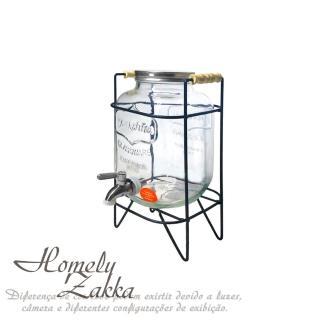 【Homely Zakka】享樂食光野餐派對大容量浮雕英文玻璃帶龍頭果汁/調酒桶_經典英文圖標(贈曜黑金屬飲料架)