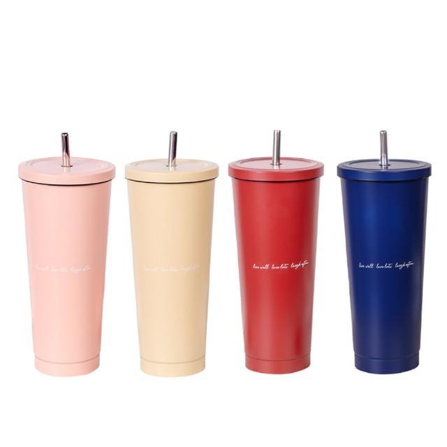 【Hiromimi】不鏽鋼內瓷吸管杯大容量750ml(2入組)杯蓋x4+吸管x4+吸管刷x2+杯塞x4(5色可選)/