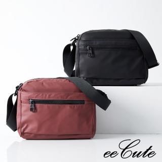 【eeCute】防潑水PU多分層側斜背包-兩色可選(小-輕巧版)