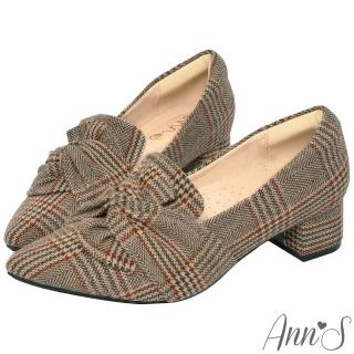 【Ann'S】氣質扭結毛呢格紋粗跟尖頭鞋3m(咖)