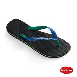 【havaianas 哈瓦仕】拖鞋 男女鞋 夾腳拖 巴西 Brasil Mix 雙色 巴西 國旗 黑/星空藍 4123206-3768U