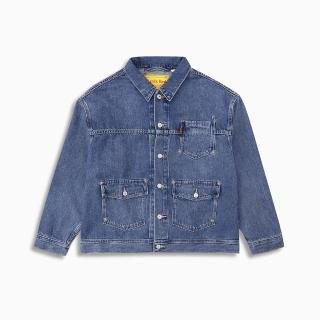 【LEVIS】Red 工裝手稿風復刻再造 女款 工裝牛仔外套 / Oversize寬鬆版型 / 中藍水洗 / 寒麻纖維
