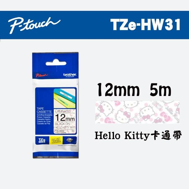 【brother】TZe-HW31 卡通護貝標籤帶(12mm Hello Kitty 白底)