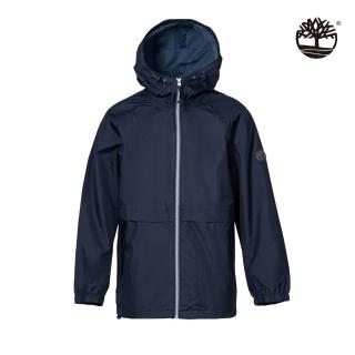 【Timberland】男款深寶石藍手臂LOGO標誌輕量連帽外套(A24U9433)/